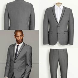 Wholesale Yellow Tie Backs - Modest Lapel Business Men Suits for Wedding Groom Tuxedos Best Man Bridegroom Wedding Suits Groomsmen Suits (Jacket+Pants+Vest+Tie)