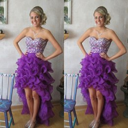 caldo foto indietro backless Sconti I clienti Purple High Low Tiers Prom Dresses Crystal Sweetheart Perline Organza Pageant Dress Hot Una linea Backless Foto reali di alta qualità