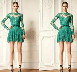 Wholesale Zuhair Murad Sheath Sweetheart - Fresh Green Zuhair Murad Cocktail Dresses 2018 Hot Short Style Mini Sheer Lace Sweetheart Lace Long Sleeve Prom Dress Lace Party Gowns LV483