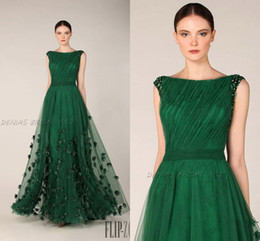 Wholesale Bateau Neckline Evening Gowns - Emerald Green Prom Dresses Formal Evening Gowns Bateau Neckline Cap Sleeves Tulle Appliques Flora Wedding Party Dress