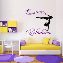 Wholesale Modern Dancing - Personalized Girl Name Gymnast Gymnastics Dance Dancing Vinyl Wall Decal Sticker Wall Stickers For Kids Rooms Size 76x71CM