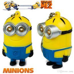 Wholesale Wholesale Mini Despicable Figures - LED Minion Keyrings 2015 Toys Keychains Cartoon Movie Despicable Me 2 3D Mini Minion PVC Action Figure Toys Retail And Wholesale