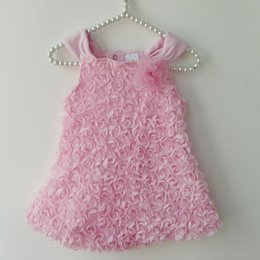 Wholesale Baby Girls Rosette Tutu Dress - 2015 New Summer Style Baby Girls Rompers Dress Infantil Sleeveless Rosette Flowers Dresses Baby Girls Princess Suspender Dress Retail