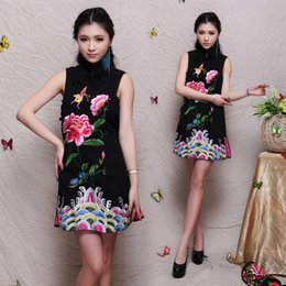 Wholesale Embroidered Cheongsam Dress - Wholesale-2015 Summer Women's Chinese Style Bamboo Jacquard Embroidered Cotton Cheongsam Embroidery National Trend One-piece dress
