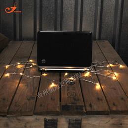 Wholesale blue led bulb wire - Wholesale- Wholesale USB 5V Warm Amber 10 LED Bulb String Lights Starry Luminous Icicle Light Transparent Plastic Wire Garden Party Decor