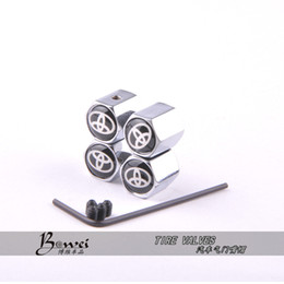 Wholesale Stainless Steel Car Wheels - Free Shipping Theftproof Stainless Steel Black 4PCS Car Wheel Tire Valves Tyre Stem Air Caps Airtight Cover For Toyota