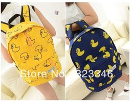 Wholesale Duck Backpacks - New 2014 fashion cartoon little yellow duck school bags   children and kid backpacks   zipper backpack mochila infantil Freeship