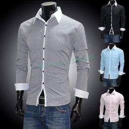 Wholesale Drop Shipping Shirts - Hot Sale New Men Dress Shirt Casual Slim Long Sleeve Fit Stylish Black, Pink, Blue,gray Drop shipping 55