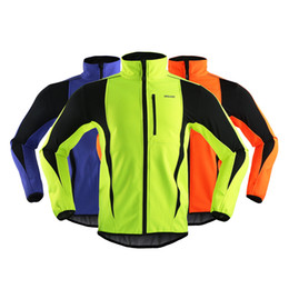 Wholesale Uv Soft - ARSUXEO 2016 Thermal Cycling Jacket Winter Warm Up Bicycle Clothes Green Windproof Long Men Soft Shell Coat MTB Bike Jerseys Sets New Tops