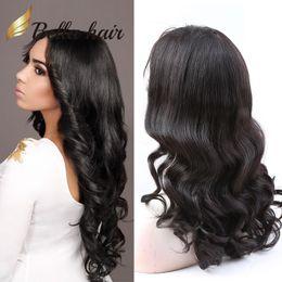 perruque de dentelle brésilienne lâche Promotion Perruques de cheveux brésilien vierge de cheveux humains avant de lacet perruque avec des cheveux de bébé ondulés vague lâche pleine dentelle perruques pour les femmes noires BellaHair
