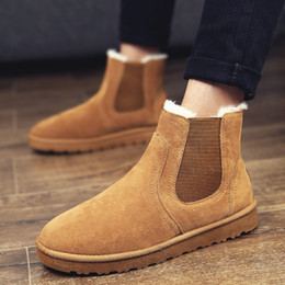 Wholesale Flats Fur Inside - Wholesale Warm Shoes With Fur Inside Men Boots Brand Winter Discount Prices England Style Wedding New Fashion Ankle Brown Leather Snow Boots