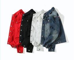 Wholesale Men Basic - Mens Women Bal Denim Jacket Coat Autumn Winter Long Sleeves Jackets Jeans Lapel Tops Basic Pocket Single Breasted Casual Outwear