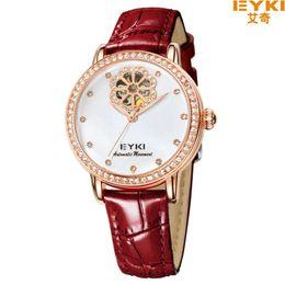 Wholesale Eyki Women - EYKI Women Watch Genuine Leather Brand Automatic Self-wind Watch Women Luxury Rhinestone Case Brand Wristwatch relogio feminino