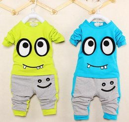 Wholesale Toddler Boy Green Pants - Unisex Toddler Baby Cute Character Clothing Sets Infant Suit Kids Boys Girls Long Sleeve Pullover Crop Tops +Pants Outfit