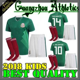 Wholesale Quality Boys - best quality Mexico BOYS 17 18 football jersey kid kit home green 2017 CHICHARITO G.DOS SANTOS R.MARQUEZ Mexico soccer Jersey child kit