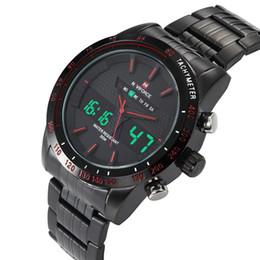 Wholesale Army Glasses - NAVIFORCE 9024 brand men's wristwatch, Sport dual display GMT Digital LED reloj hombre Army Military watch relogio masculino