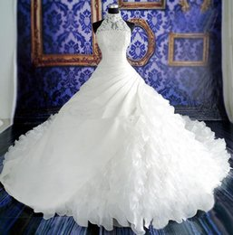 Wholesale Zip 12 - White 2015 Weding Dresses Lace Ball Gown Bridal Gowns With Lace Applique Beads High Neck Sleeveless Zip Back Organza Wedding Gowns