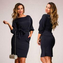 62cfc69ef8f Al por mayor-XL-5XL 2016 otoño grande más el tamaño de las mujeres vestido  de trabajo de oficina Casual Bodycon mujer elegante formal del partido del  lápiz ...