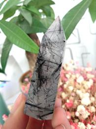 Cristallo bacchetta quarzo nero online-Pietre minerali minime di guarigione del punto di bacchetta del quarzo dell'ormone nero della tormalina come regalo di Natale Trasporto libero