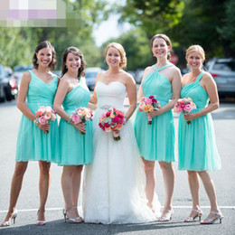Wholesale Strapless Turquoise Bridesmaid Dresses - Mint Green   Turquoise Short Knee Length Beach Bridesmaid Dresses Cheap Draped Bridesmaids Dress Custom Made Cheap For Wedding Party