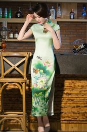 Wholesale Silk Long Cheongsam - Chinese Retro stand collar Silk Cheongsam Lotus flower Digital Printing Green Women's Slim Dresses improved Long Dresses#238