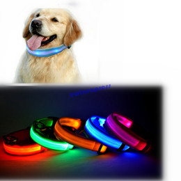 Wholesale Dog Light Up - LED Nylon Pet Supplies Products Dog Collar Night Safety LED Light-up Flashing Glow In The Dark Electric LED Pets Cat & Dog Collar