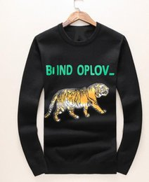 Wholesale Golden Knit - Hot sweater male hedging round neck golden tiger printing casual cashmere sweater knit stock