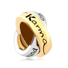 Wholesale Large Round Metal Ring - Large Hole Couples Ring Words Lkarma Around Comes Ring European Bead Fit Pandora Chamilia Biagi Charm Bracelet
