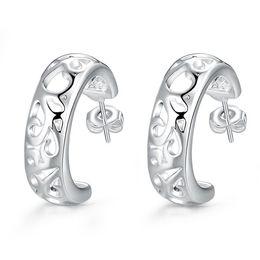 Nova marca de prata esterlina banhado brincos perfurados semicírculo DFMSE630, mulheres 925 brincos de prata Dangle Lustre 10 par muito de Fornecedores de brincos de diamantes reais por atacado