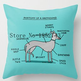 Wholesale Cool Case Designs - Wholesale-Cool Art Design Greyhound Anatomy Pillow cases(two sides) for 12 ''14''16''18''