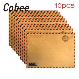 Wholesale Beautiful Sheets - Wholesale- Cobee 10 Sheets Hot Creative Beautiful Simple & Retro Design Coffee kraft Air Mail Envelope Postcard Letter Paper
