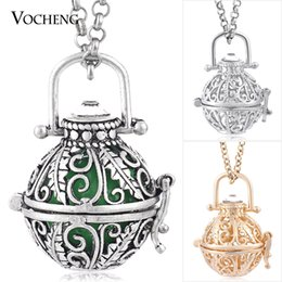 Wholesale Brass Box Chain - Chime Harmony 3 Colors Plating Cage Locket Box Pendant Necklace with Stainless Steel Chain VA-192