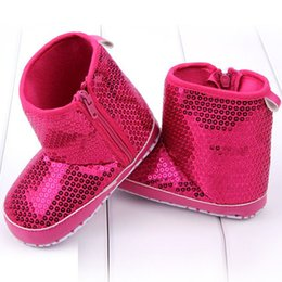 Wholesale Toddler High Fashion Boots - Fashion Infant Baby Girls Soft Bottom Anti Slip Toddler Shoes Sequins High Boots for free shipping