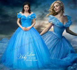 Wholesale Cinderella Costumes Adults - New Cinderella Princess Dress for women Prom Dress Off Shoulder Butterfly Ball Gown Blue Party Pageant costume cosplay dress for adults GD36