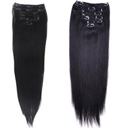 """Wholesale Indian Remy Hair Extensions Clips - Best Quality 180g 18"""" 20"""" 22"""" clip in hair extensions Indian Remy human hair natural black straight clip-in Hair"""