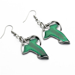Wholesale Green Wizard - Fashion Lord of the Rings Wizard Leaves Earrings hobbit green leaf charm dangle ear cuff for women game movie jewelry by DHL 160874