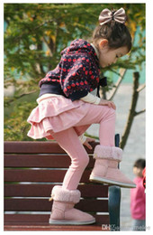 Wholesale Melee Clothing - Wholesale-foreign trade children's clothing autumn winter girls leggings culottes cake skirt pants boy pants fake two black 6color melee