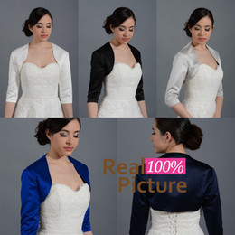Wholesale Silver Shrugs - 2015 Satin Front Open Wedding Bridal Bolero Jacket Half Sleeves Cap Wrap Bridal Shrug Custom Made New Arrival Wedding Jackets