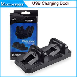 Wholesale Game Charger - New Wireless Dual USB Charging Dock Station Stand for playstation 4 PS4 Game Controller Black Charger for dualshock 4 handle in stock 010205