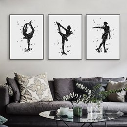 Wholesale Abstract Sports Wall Art Painting - Modern Watercolor Black White Skating A4 Art Print Poster Abstract Winter Sports Girl Wall Picture Big Canvas Painting Living Room Home Deco