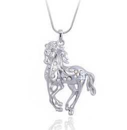 Wholesale Red Rose Necklaces - Crystal Horse Pendant Necklace White Gold Plating Animal Jewelry Long Necklace Trendy Alloy Crystal Pendant Korean Jewelry New Hot