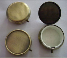 Wholesale Diy Pill Case - 10PCS Bronze Pill Boxes DIY Metal Container Case--Single & one compartment-Free Shipping
