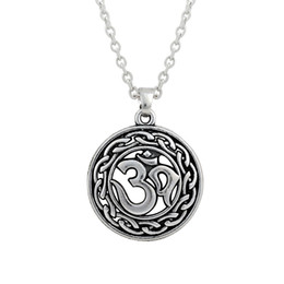 Wholesale Greek Silver Jewelry - Antique Silver Plated Religious DIY OM Yoga Greek Charms for Jewelry Making Pendant&Necklace Vintage Style with Lobster Clasp Charm&Necklack