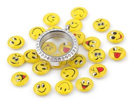 Wholesale Cut Glass Plates - Wholesale 20Pcs Lot DIY Resin Mix Cut Emoticons Smile Face Cartoon Charms Fit For Magnetic Glass Living Floating Locket
