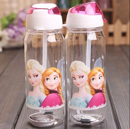 Wholesale Discount Water Bottles - Best Price Big discount 10pcs Children Cup Cartoon Elsa anna princess PP Texture Suction Cup with drinking straw water bottle