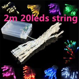Wholesale Christmas Lightings - 2m 20leds Christmas lightings decoration wedding 2 m LED light holiday string lights 3*AABattery power operated LED string 2meter LED Strip