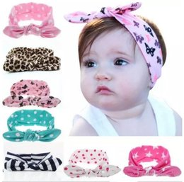 Wholesale Turban Twist Headwrap - 10pcs girl baby wave point cotton Turban Twist unicorn horn Headband Head wrap Twisted Knot Soft Hair band Headbands Headwrap