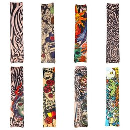 Wholesale Top Arm Tattoos - Wholesale-Top Sale Fake Nylon Temporary Tattoo Design Fun Stockings Sleeves Arm 8pcs