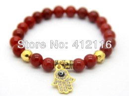 Wholesale Agate Products Wholesale - 2014 New Products Wholesale Best Quality Natural Red and Black Agate New Brand Gold Fatima Hand Hamsa Bracelets Cham Jewelry