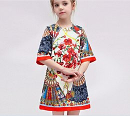 Wholesale Material Flowers For Dresses - Baby Girls Dobby material Dress Brand flower Toddler Baby Autumn Spring Dress for Princess Party dress
